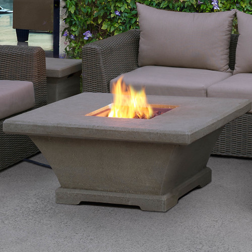 Real Flame Monaco Square Low Profile Propane Fire Pit Table