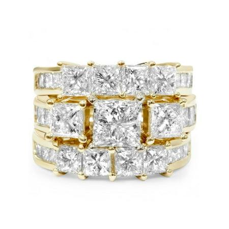 4 1/3ct Princess Cut  Diamond Engagement Guard Ring Set 14K Yellow