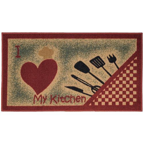 Rugnur Cucina I Love My Kitchen and Utensils Cream/Red Kitchen Area Rug