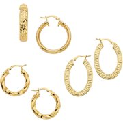18kt Gold-Plated Earring Set, 3 Pairs