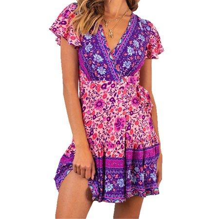 Imcute Women Boho Flower Print Dress Short Sleeve Mini Summer