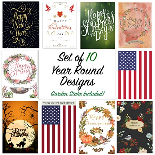 """Seasonal Garden Flag Set Of 12 Pack 12 /""""X 18/"""" For Double-Sided Outdoors Lawn D"""