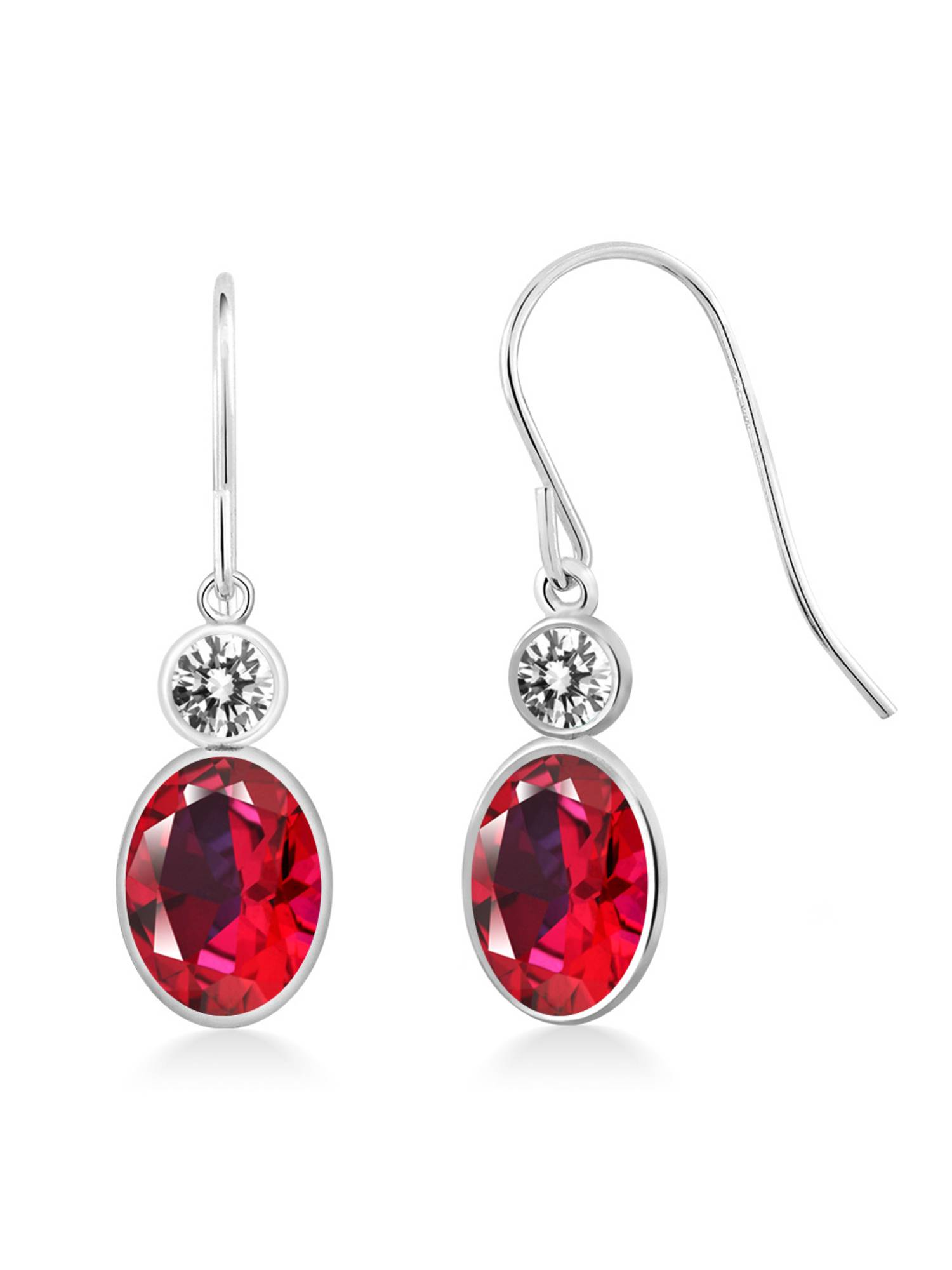 14K White Gold Diamond Earrings Set with Blazing Red Topaz from Swarvoski by
