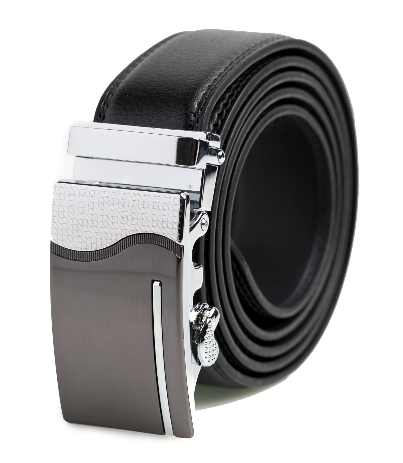 Mens Genuine Leather Dress Belt Black-004 Platinum Hanger Adjustable Track Belt Automatic Sliding Buckle Ratchet Belt