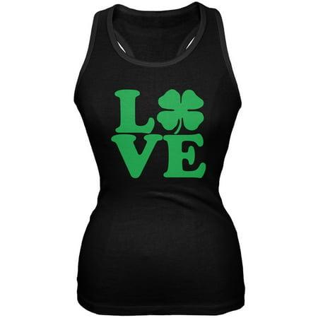 St. Patricks Day - Love Irish Shamrock Black Juniors Soft Tank Top