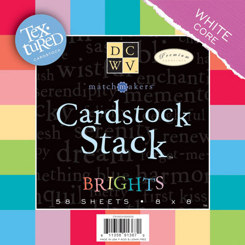 Cardstock Stack Brights 8X8 58Sh Textured With White Core