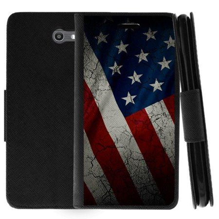 TurtleArmor ® | For Samsung Galaxy J7 (2017) | J7 V | J7 Perx | J7 Sky Pro | J7 Prime | Halo [Wallet Case] Leather Cover with Flip Kickstand and Card Slots - American Flag