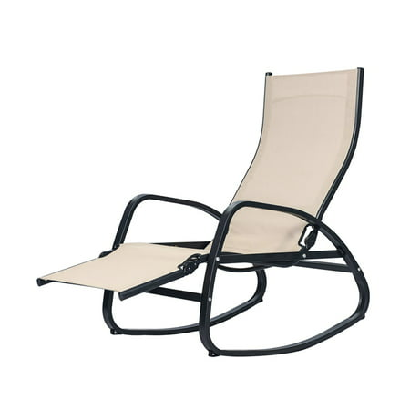 Patio Rocking Chair Home Recliner Indoor Outdoor Lounger Garden Couch w/Cushion ()