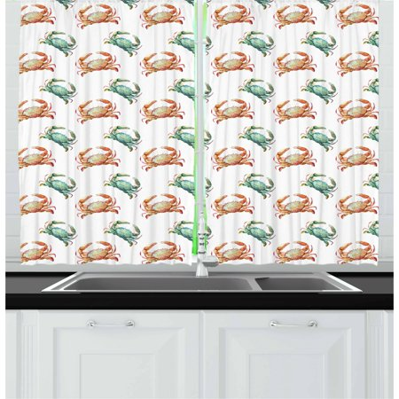 Crabs Curtains 2 Panels Set, Pattern with Watercolor Style Fresh Water Animals Coastal Themed Art, Window Drapes for Living Room Bedroom, 55W X 39L Inches, Pale Orange Turquoise White, by Ambesonne ()
