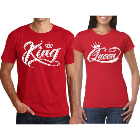 c8179279704 King & Queen NEW Design Valentines Christmas Gift Couple Matching Cute  T-Shirts King-Red 4XL