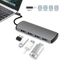 USB C Hub, EEEkit Aluminum USB C Adapter with 4 USB 3.0 Ports, for MacBook Pro 2018/2017, ChromeBook, XPS, Galaxy S9/S8, and More