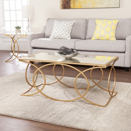 Deurilla Eclectic Geometric Cocktail Table w/ Mirrored Top, Gold ()
