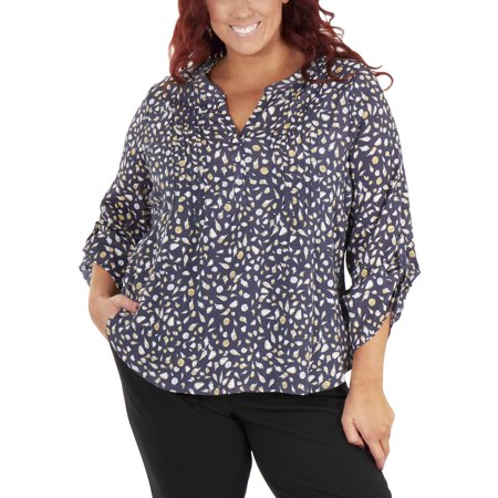 e4510f3c07325 NY Collection - Women s Plus Size 3 4 Sleeve Front Pleated Top - Walmart.com