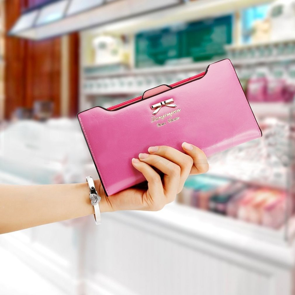 New Fashion Women Sweet Multi-Card Holder Long Wallet PU Leather Purse Pink