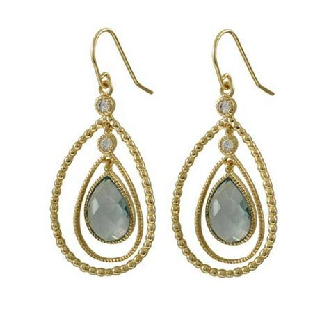 Dlux Jewels Gold Aqua Cubic Zirconia Euro Earrings - image 1 de 1
