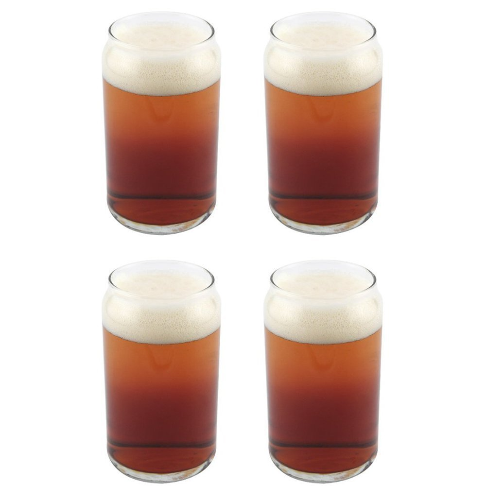 KIT Libbey Can Shaped Beer Glass 16 oz 4 PACK w  Pourer by