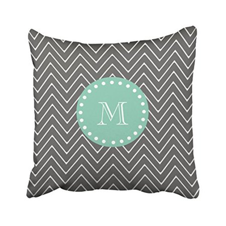 WinHome Vintage Simple Charcoal Gray Chevron Pattern Fashion Mint Green Custom Polyester 18 x 18 Inch Square Throw Pillow Covers With Hidden Zipper Home Sofa Cushion Decorative Pillowcases (Mint Chevron)