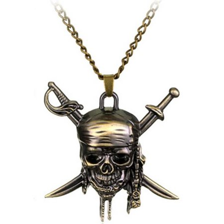 Pirates of the Caribbean Necklace Swords Skull Head Pendant Necklace Vintage Design J-96](Pirate Necklace)
