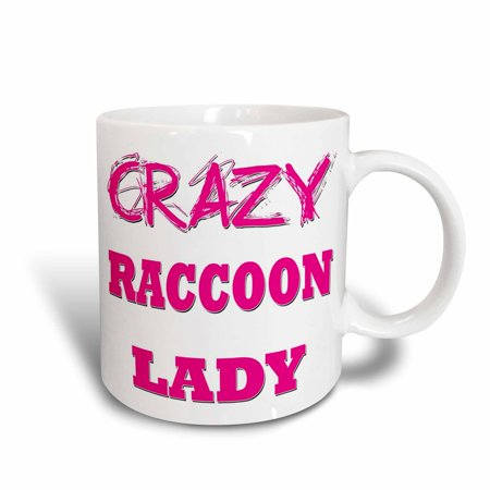 3dRose Crazy Raccoon Lady, Ceramic Mug, 15-ounce