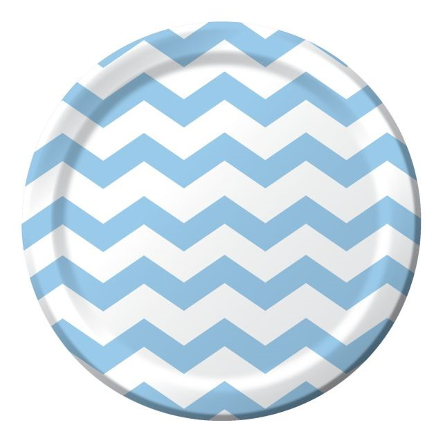 "Party Creations Chevron & Polka Dot Dinner Plate, 9"", Pastel Blue, 8 Ct"