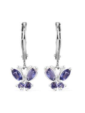 925 Sterling Silver Iolite Blue Butterfly Lever Back Dangle Drop Earrings for Women Jewelry Gift Cttw 0.5
