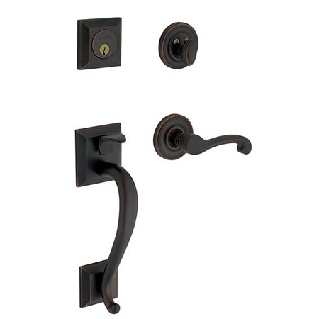 Madison Hardware - Baldwin 85320.190.LENT Madison Sectional Trim Left Hand Handleset with Classic Lever, Satin Black