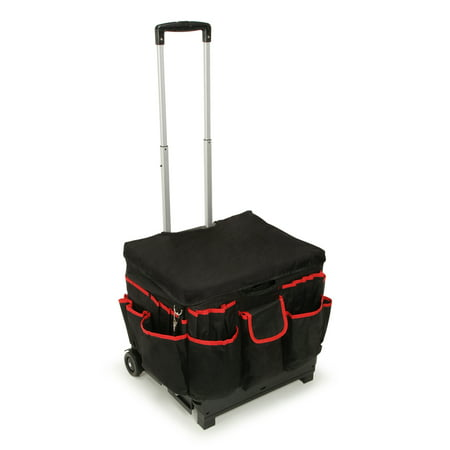 "Darice Black Fabric-Covered Rolling Craft Cart, 17"" x 15.5"" x 14.8"" (Rolling Cart With Cover)"