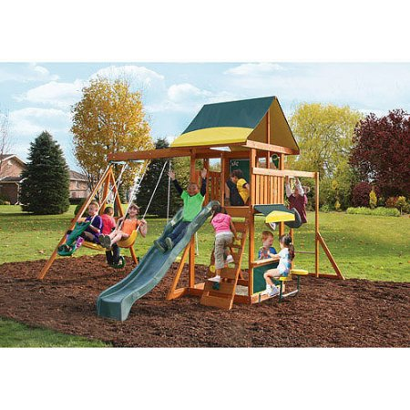 Kidkraft Brookridge Wooden Swing Set Walmart Com