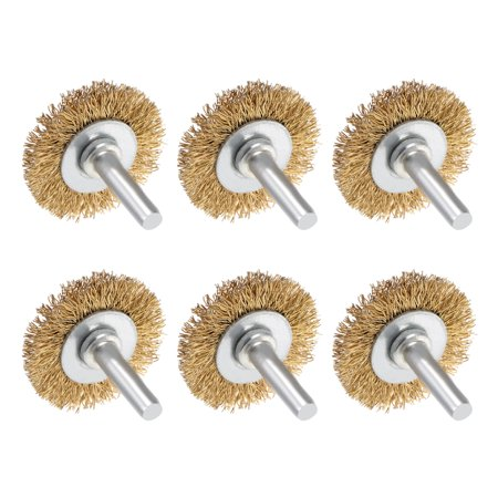 Wire Wheel Brush with Shank Bench Copper Plated Crimped Steel 1.5Inch Wheel 6pcs - image 3 de 3