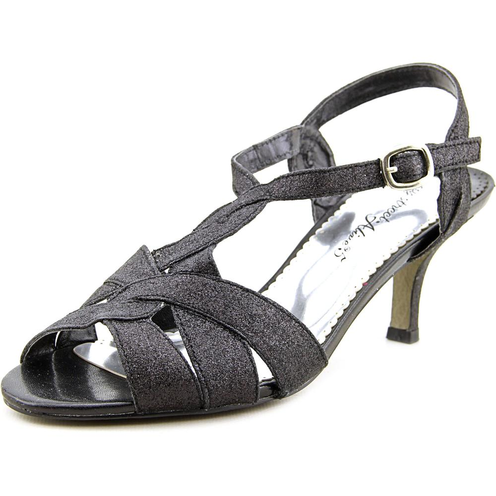 Easy Street Glamorous Women Open Toe Synthetic Black Sandals by Easy Street