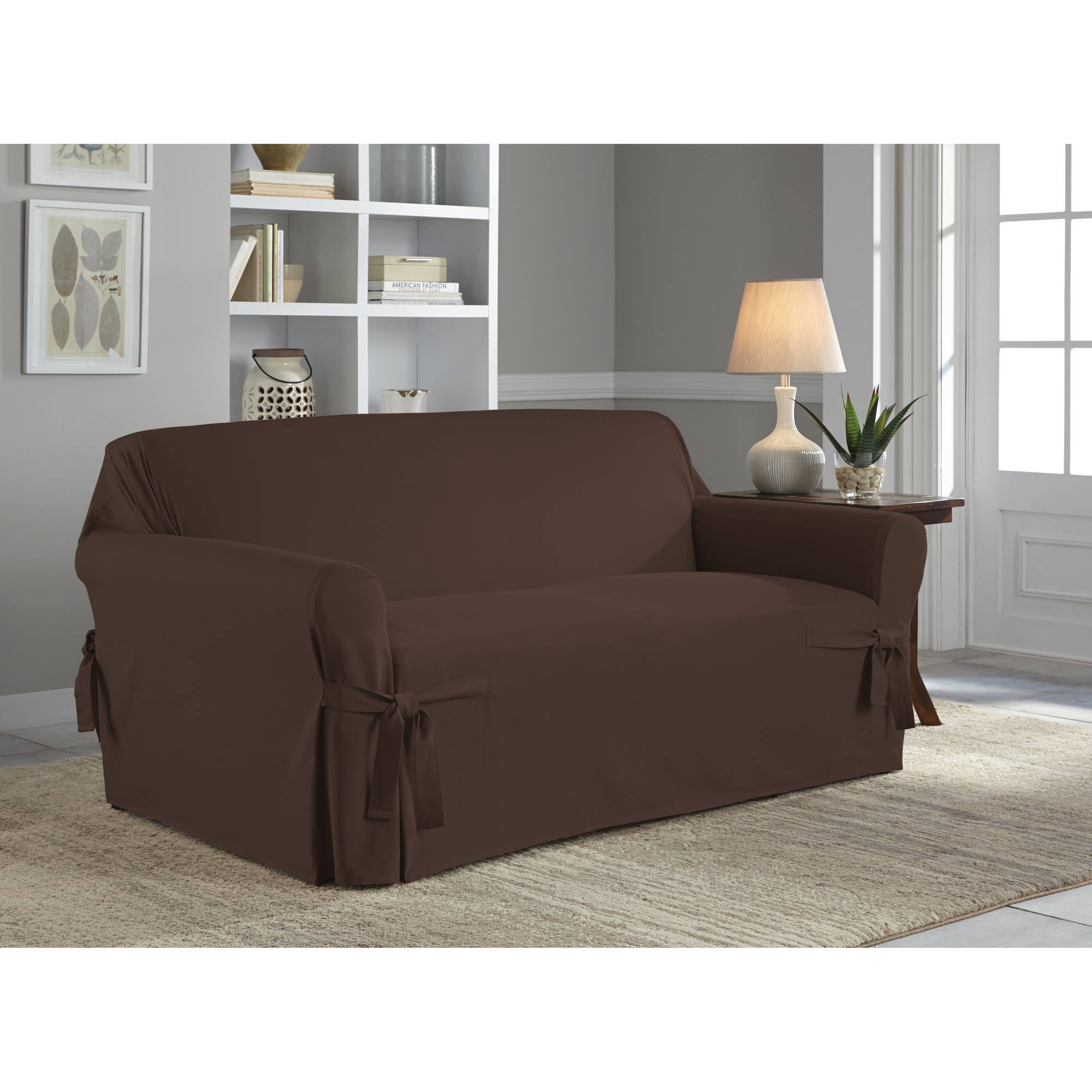 Attractive Serta Relaxed Fit Duck Furniture Slipcover, Loveseat 1 Piece Box Cushion    Walmart.com