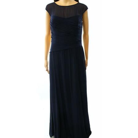 Lauren Ralph Lauren New Blue Navy Womens 8 Illusion Ball Gown Dress