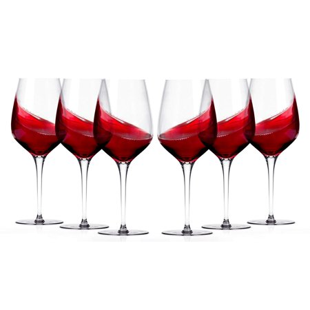 Miko Crystal Wine Glasses Burgundy, 20-ounce, Set of 6 ()