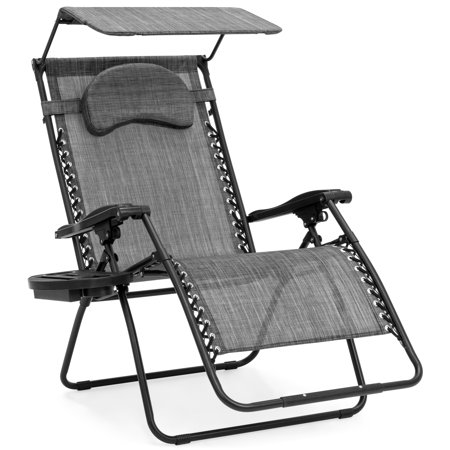 Best Choice Products Oversized Zero Gravity Reclining Lounge Patio Chairs w/ Folding Canopy Shade and Cup Holder (Gray) ()