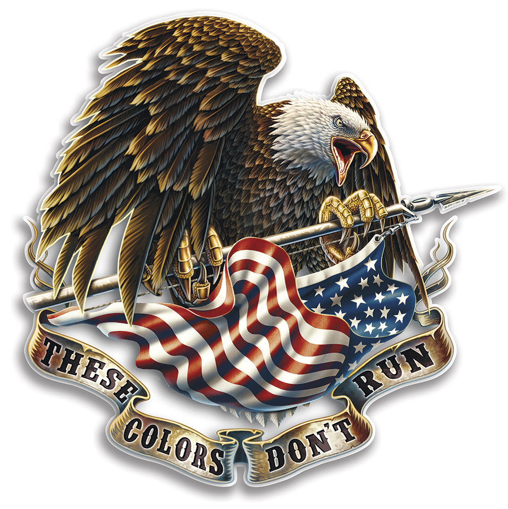 SET OF 2 United States Flag Eagle These Colors Don't Run 4 Inch Reflective Decal