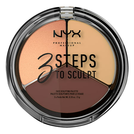 NYX Professional Makeup 3 Steps to Sculpt Face Sculpting Palette, (Tarte Clay Play Face Shaping Palette Review)