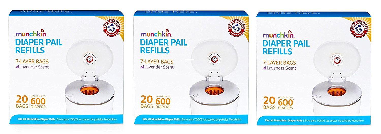 Munchkin Arm & Hammer Diaper Pail Refill Bags, 60 Count by Munchkin