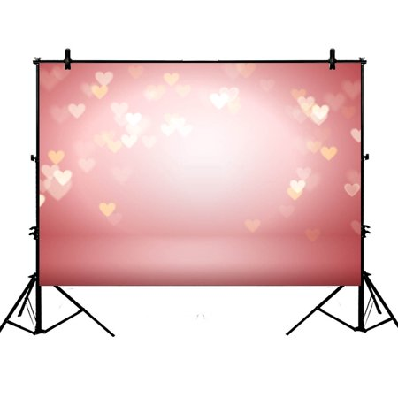 GCKG 7x5ft Valentine's Day Sweet Hearts Bokeh Glitter Sequins Blurry Romantic Wallpaper Wedding Girls Lover Party Decoration Polyester Photography Backdrop Photography Props Studio Photo Booth Props - image 4 de 4