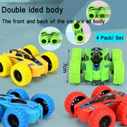NK HOME Set of 4 Friction Powered Car Toys, Double-sided Stunt Flip Inertia Car, Push and Go Toy Cars for Toddlers, Powered Pull Back Toys Vehicle 360 Rotation, Gifts for 3 4 5 6 7 8 + Year Old Boy
