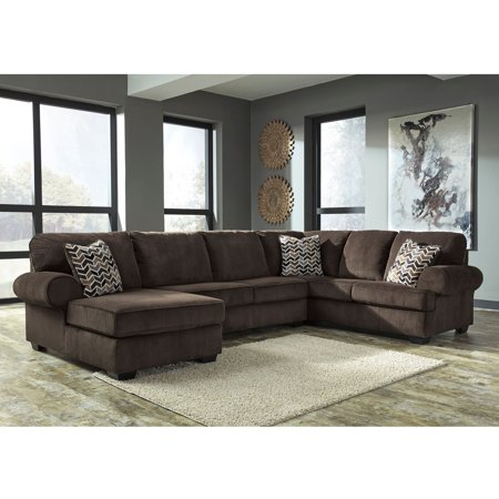 Flash Furniture Signature Design By Ashley Jinllingsly 3 Piece Raf Sofa Sectional In Chocolate Corduroy