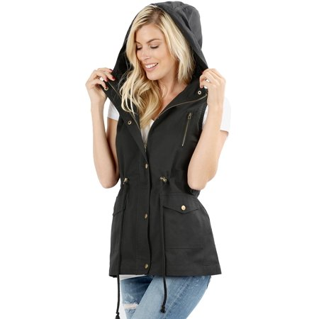 Womens Sleeveless Military Hooded Anorak Vest Jacket (Marc Jacobs Military Jacket)