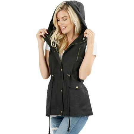 Military Flyers Jacket (Womens Sleeveless Military Hooded Anorak Vest Jacket)