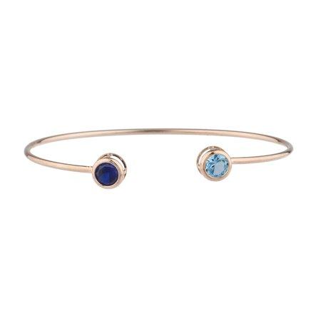 Created Blue Sapphire & Blue Topaz Round Bezel Bangle Bracelet 14Kt Rose Gold Plated Over .925 Sterling Silver