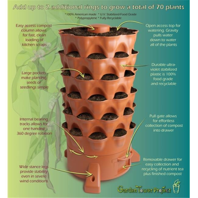 Garden Tower GT2HDPEUBS Composting 50 Plant Organic Container Garden