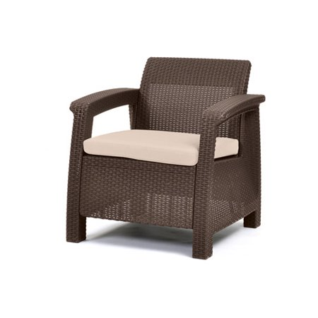 Keter Corfu Resin Armchair With Cushions All Weather Plastic Patio Furniture Brown Rattan