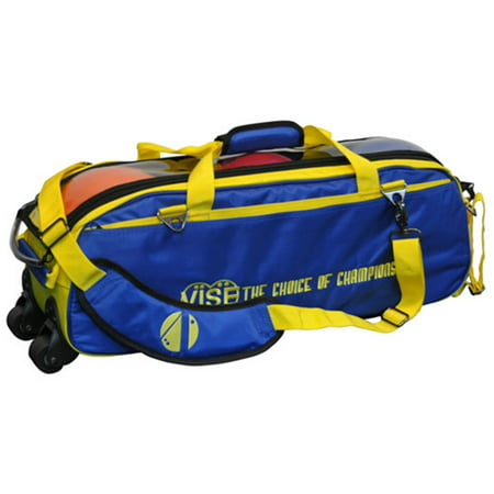 Vise Clear Top 3 Ball Roller Bowling Bag- Blue/Yellow ()
