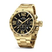 Mens Stainless Steel Case Canteen Bracelet Black Dial Gold Watch - CB93