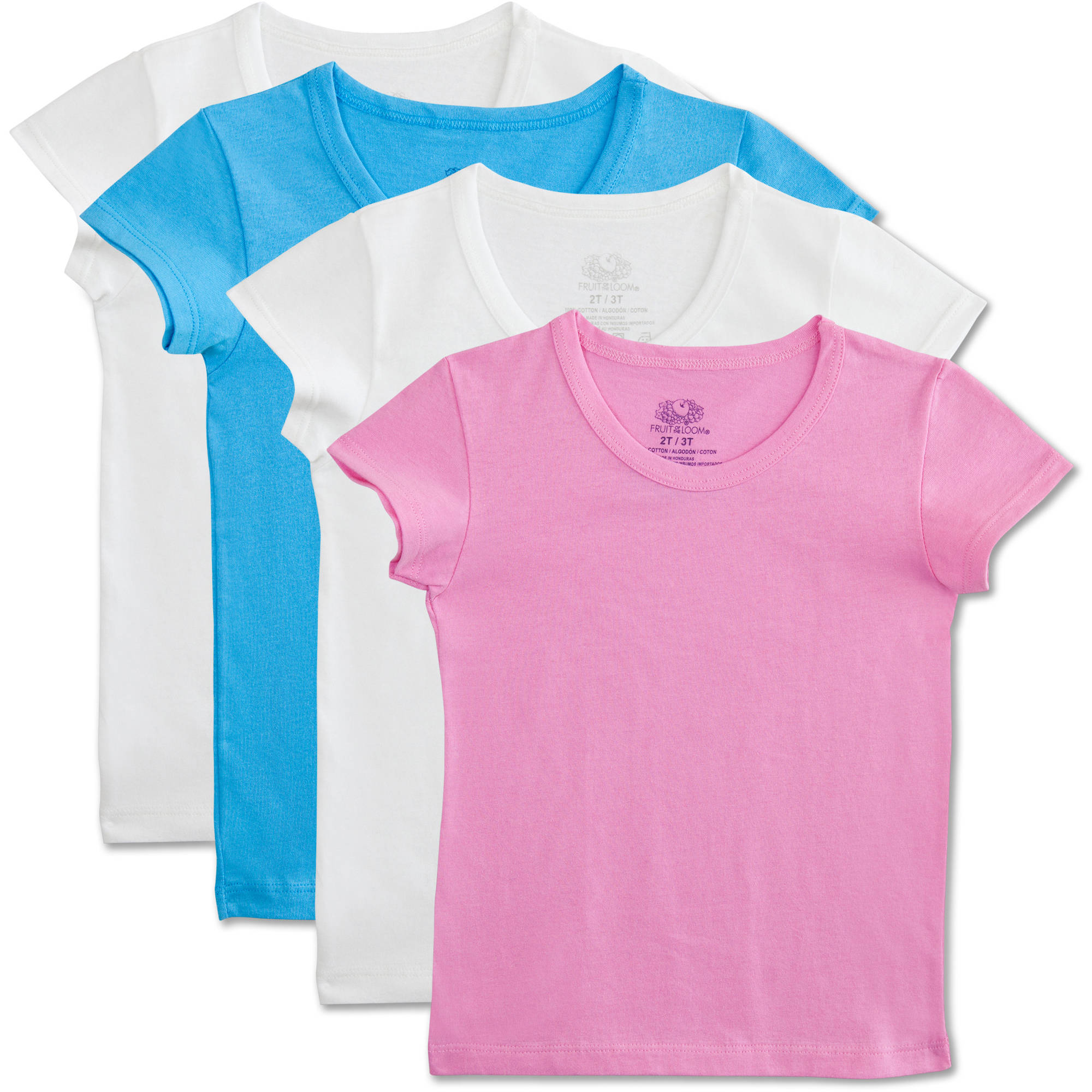 Fruit of the Loom Toddler Girls 100% Cotton T-Shirts, 4 Pack