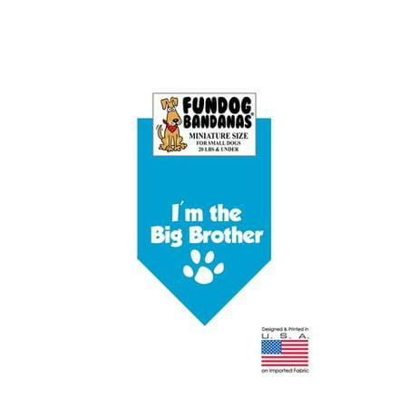 MINI Fun Dog Bandana - Je suis le Big Brother - Taille miniature pour petits chiens de moins de 20 livres, foulard turquoise animal