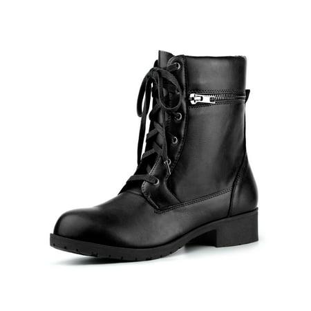 c46cf844dfc7 Unique Bargains - Women s Low Heel Lace Up Combat Black Boots - 6 M US -  Walmart.com